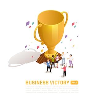 Winnaar isometrisch gekleurd concept met overwinning bedrijfsbeschrijving en oranje knop meer