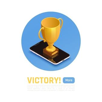 Winnaar isometrische compositie met overwinningskop meer knop en grote gouden trofee