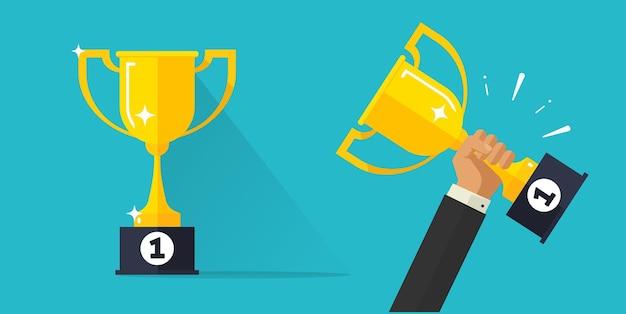 Winnaar kampioen succes award gouden beker of competitie zakelijke prijs met viering van de eerste plaats