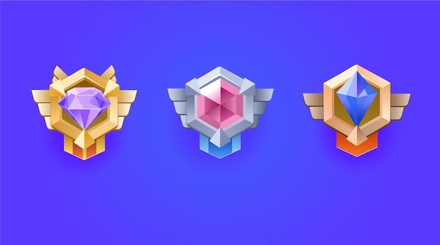 Winnaar medaille. diamanten beloningsmedaille set voor game ui.