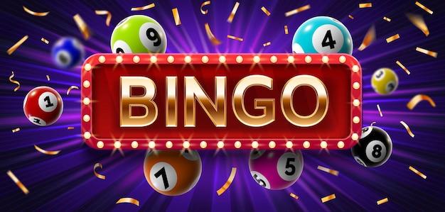 Winnaar poster met loterijballen met getallen, confetti en gouden bingo. realistische lotto spel grote winst achtergrond. gokken vector concept