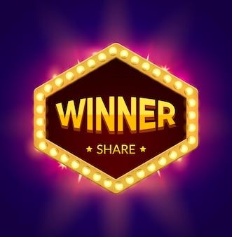 Winnaar retro banner met gloeiend licht. winnaar casinospel gelukkige showontwerp