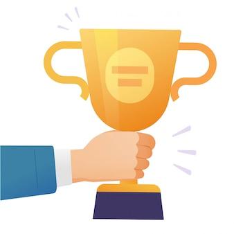 Winnaar succes award gouden beker of kampioen zakenman houden in de hand prijs prestatie beloning trofee platte cartoon geïsoleerd op een witte achtergrond