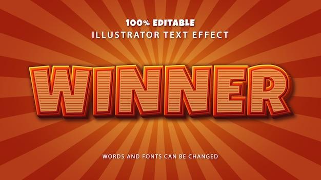 Winnaar tekststijleffect, bewerkbare tekst