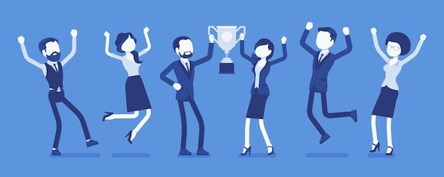Winnaar tienerteam met trofee. gelukkige tieners vieren wederzijdse overwinning, sport of wetenschap evenement prestatie, springen van vreugde. vectorillustratie met anonieme karakters