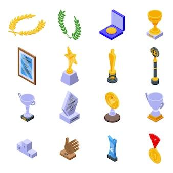 Winnaar toekenning pictogrammen instellen. isometrische set van winnaar die vectorpictogrammen voor webdesign toekent op een witte achtergrond