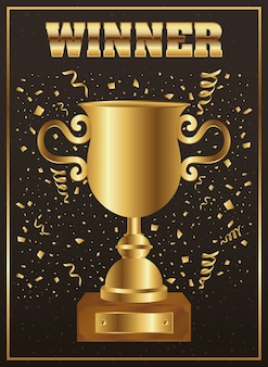 Winnaar trofee beker goud met confetti en woord
