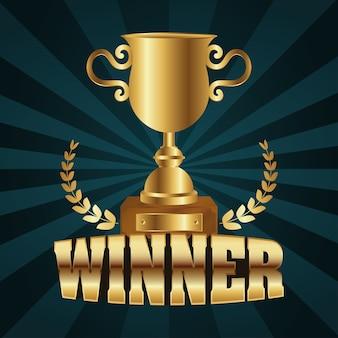 Winnaar trofee beker gouden met woord en krans