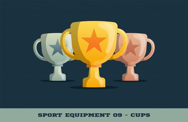 Winnaar trofee gouden, zilveren en bronzen bekers pictogram