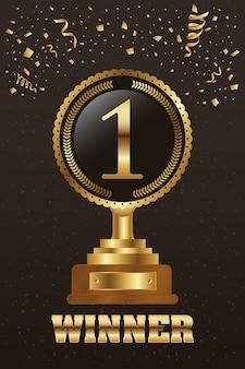 Winnaar trofee nummer één gouden met confetti