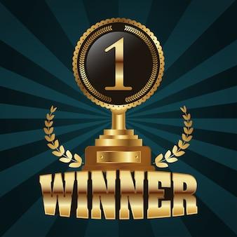 Winnaar trofee nummer één gouden met krans