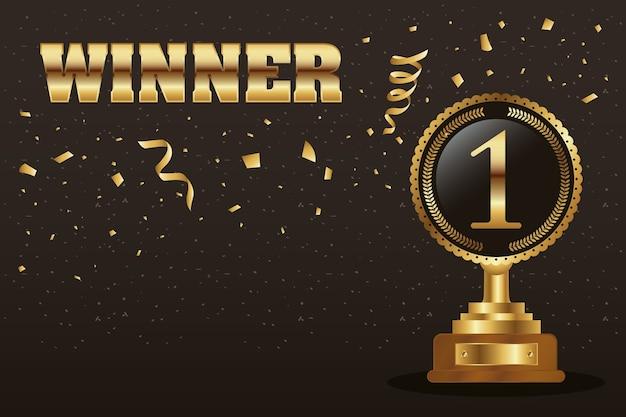Winnaar trofee nummer één gouden met woord en confetti