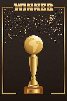 Winnaar trofee planeet aarde goud met confetti