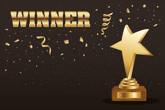Winnaar trofee ster gouden met confetti