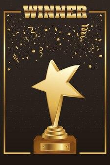 Winnaar trofee ster gouden met woord en confetti