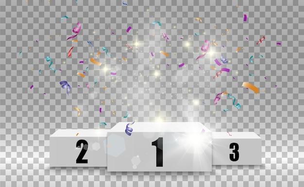 Winnaarachtergrond met tekens van eerste, tweede en derde plaats op een rond voetstuk. winnaar podium sport symbolen.