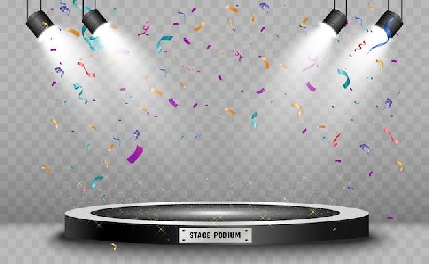 Winnaarachtergrond met tekens van eerste, tweede en derde plaats op een rond voetstuk. winnaar podium.