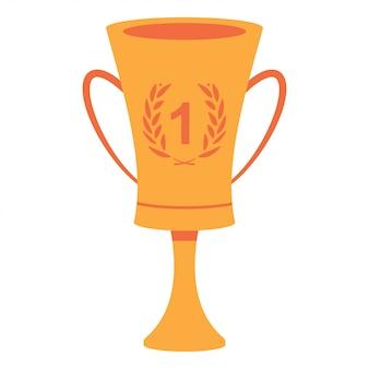 Winnaarbeker met nummer één en lauwerkrans