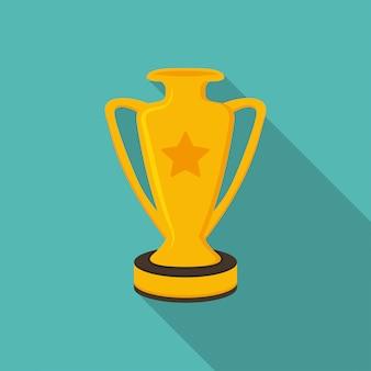 Winnaarbeker trofee in een plat ontwerp met lange schaduw