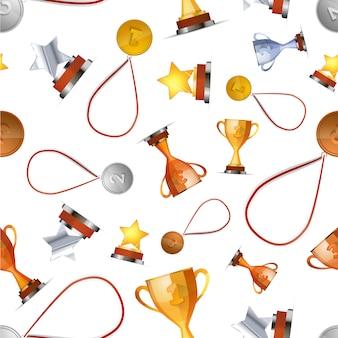 Winnaars awards met medailles, bekers en sterren op wit, naadloos patroon