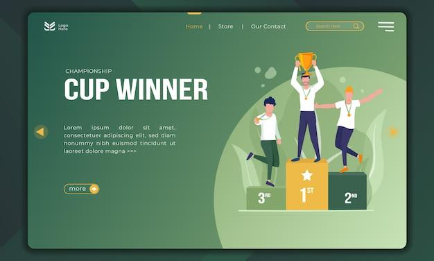 Winnaars kampioenschapsbeker op landingspagina-sjabloon