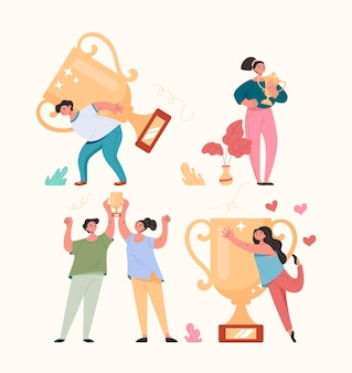 Winnaars mensen man vrouw tekens gouden beker houden en vieren concept, cartoon vlakke afbeelding set