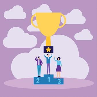 Winnaars podium mensen die winnende trofee