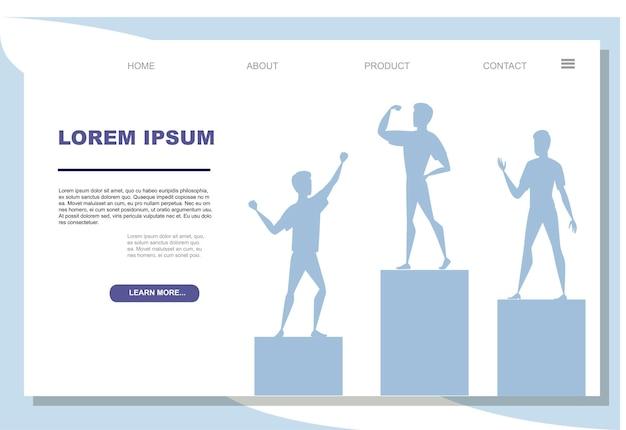 Winnaars podium met sport personen staan op het platte vectorillustratie op witte background