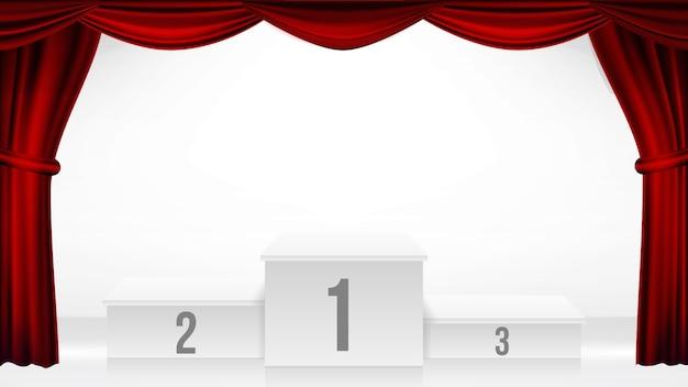 Winnaars podium, theater gordijn vector. prijsuitreiking voetstuk. white stage. leeg platform. trofee plaats. competitie award evenement. realistische retro illustratie