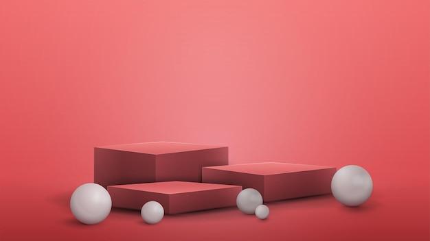 Winnaars roze kubusvoetstuk met witte realistische bollen eromheen