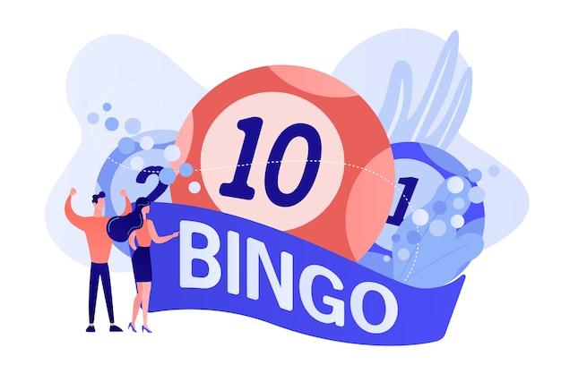 Winnaars van zakenman en vrouw en bingo loterijballen met geluksgetallen, kleine mensen. loterijgeldspel, loterijticket, bingospelconcept. roze koraal bluevector geïsoleerde illustratie