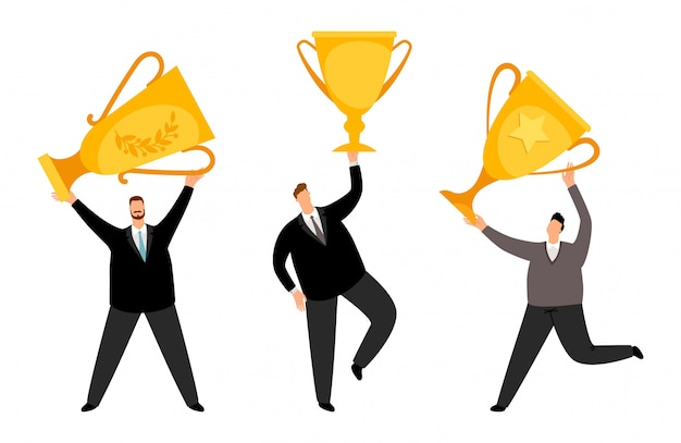 Winnaars voor mannen. vector zakenlieden platte karakters met gouden bekers