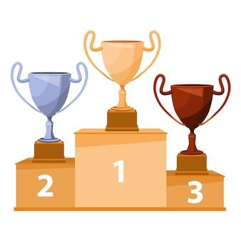 Winnaarspodium met beker. gouden, zilveren en bronzen trofeekoppen. platte vectorillustratie