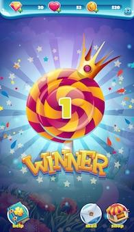 Winnaarvenster van sweet world mobiele gui-game