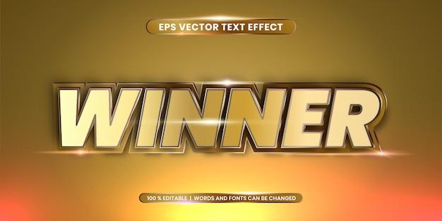 Winnaarwoorden, teksteffect stijl 3d concept