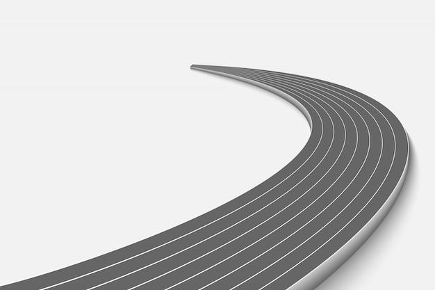 Winnend curve road geïsoleerd