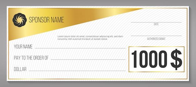 Winnende cheque voor betalingsgebeurtenis, leeg