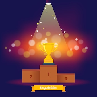 Winnende etappe met plaatsen en trofee