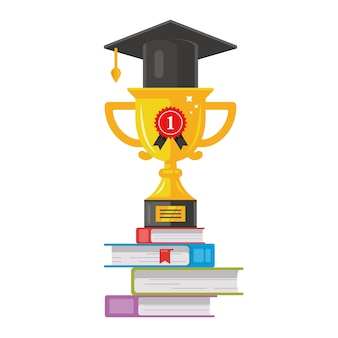 Winnende gouden beker in een hoed staat op de boeken. eerlijke beloning. afstuderen klasse platte vectorillustratie