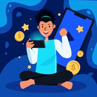 Winnende munten op mobiele telefoon video game concept