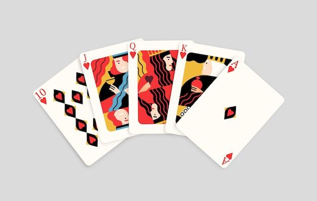 Winnende pokerhand combinatie harten royal flush redactionele platte vectorillustratie. realistische vijf kaart spelen winnaar samengestelde geïsoleerd op een witte achtergrond. gokken casino spel kans.