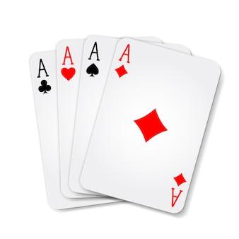 Winnende pokerhand van vier azen speelkaarten pakken op wit