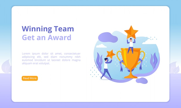 Winnende team of ontvang een award website