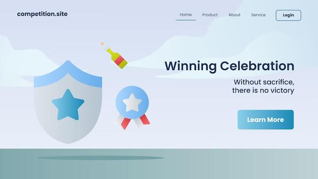 Winnende viering met slogan zonder opoffering, er is geen overwinning voor websitesjabloon landing homepage vectorillustratie