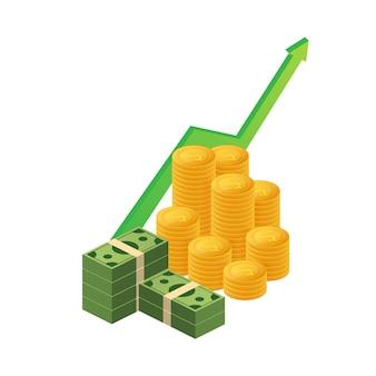 Winstgeld of budget. contant geld en stijgende grafiekpijl omhoog, concept bedrijfssucces.