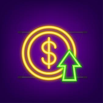 Winstgeld of budget contant geld en stijgende grafiekpijl omhoog concept van zakelijk succes neonstijl