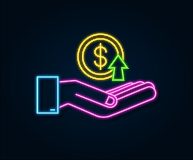 Winstgeld of budget contant geld en stijgende grafiekpijl omhoog in handen kapitaalwinstvoordeel
