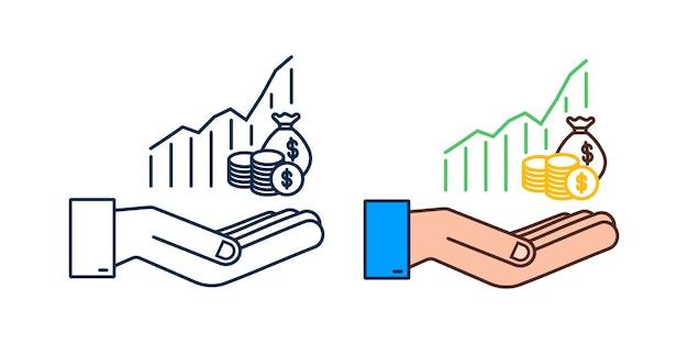 Winstgeld of budgetpictogram in handen contant geld en stijgende grafiekpijl omhoog concept van zakelijk succes