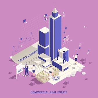 Winstgevend investeren in onroerend goed commerciële gebouwen zakelijk kantoorgebouw toren huurinkomsten isometrische samenstelling illustratie