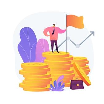 Winstgevende bedrijfsdirecteur. succesvolle ondernemer, professioneel leiderschap, ondernemer met een hoog inkomen. prestatie van financieel succes. vector geïsoleerde concept metafoor illustratie